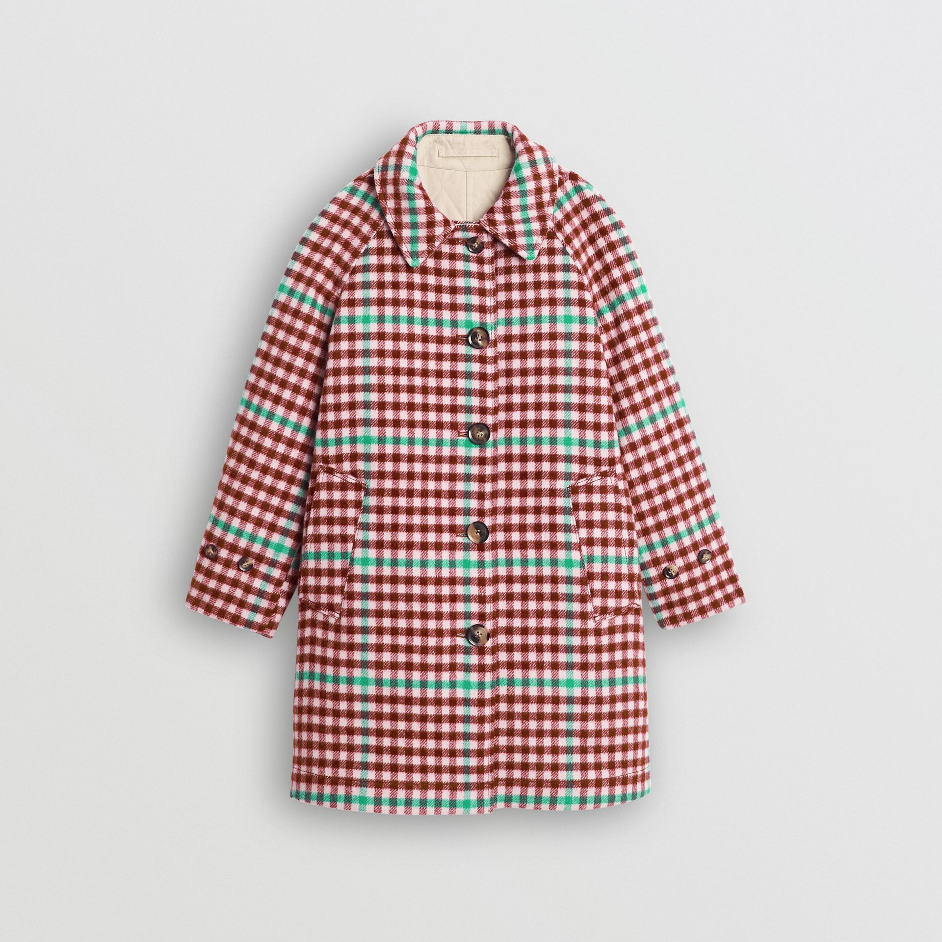 Reversible Check Wool and Cotton Car Coat in Garnet Pink - Children | Burberry - gallery image 0