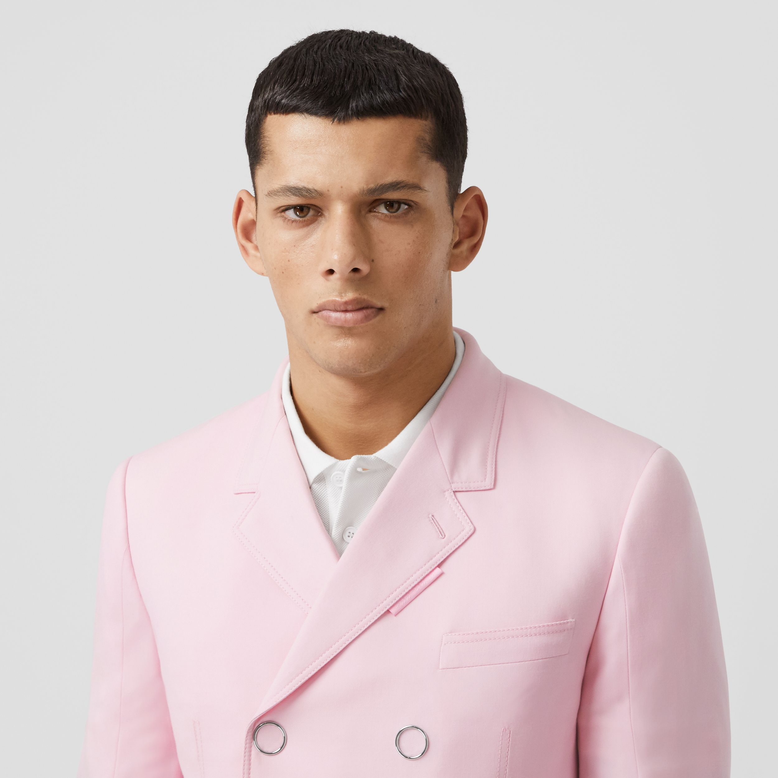 Slim Fit Press-stud Tumbled Wool Tailored Jacket in Candy Pink - Men | Burberry - 2