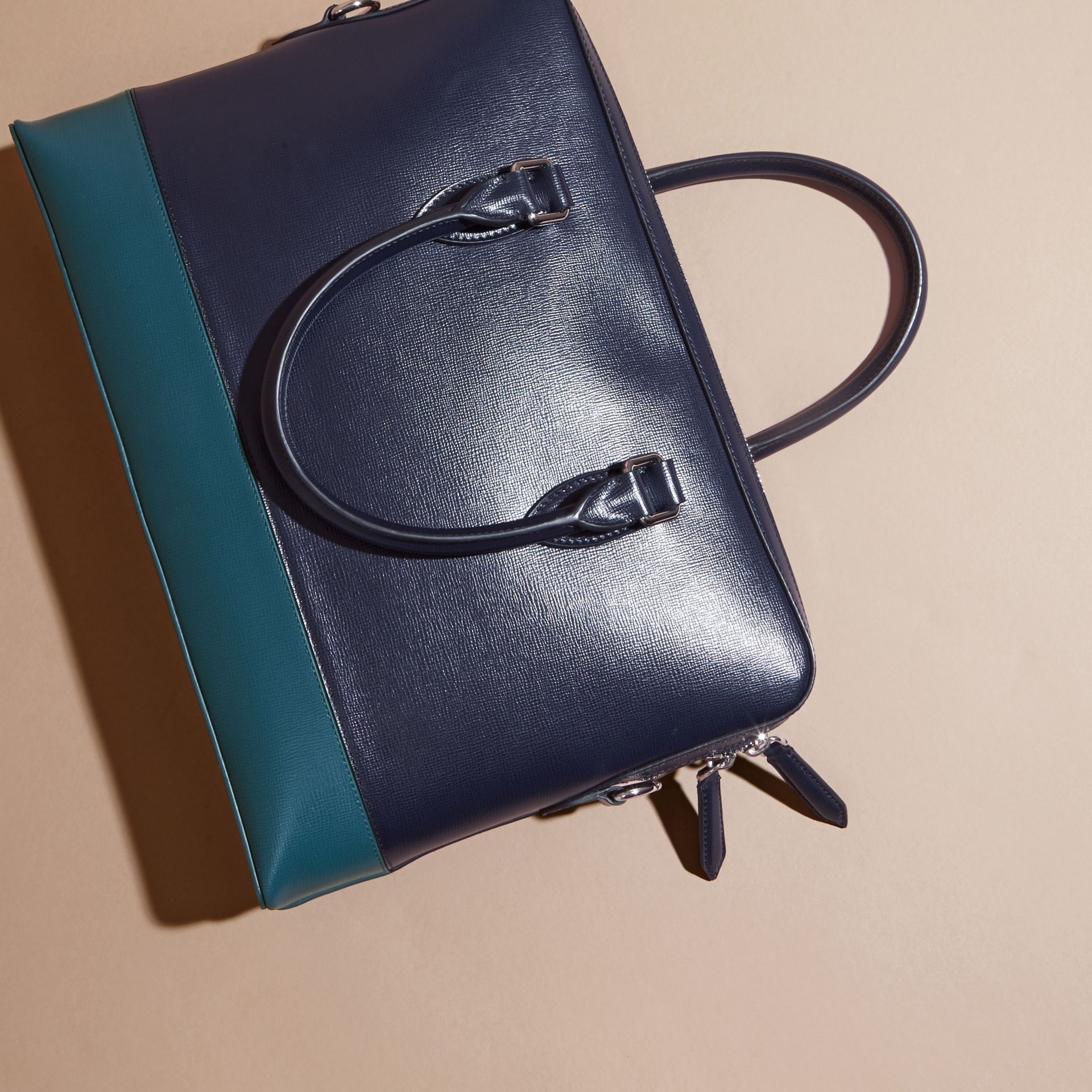 Dark navy/mineral blue The Slim Barrow in Panelled London Leather Dark Navy/mineral Blue - gallery image 4