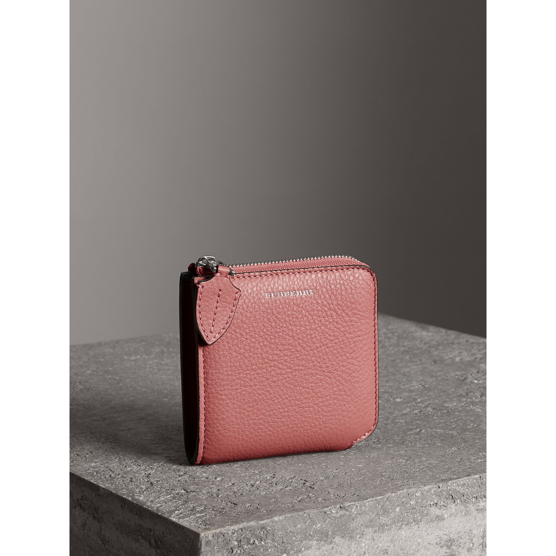 Grainy Leather Square Ziparound Wallet in Dusty Rose - Women | Burberry - gallery image 4