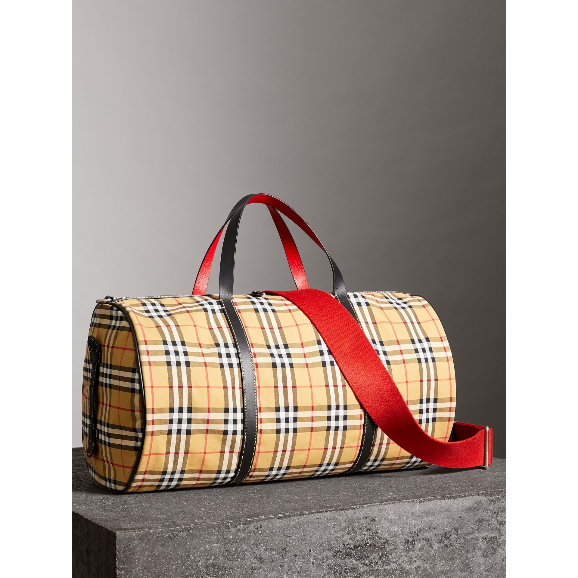 Large Vintage Check and Leather Barrel Bag in Military Red - Men | Burberry Australia - gallery image 6