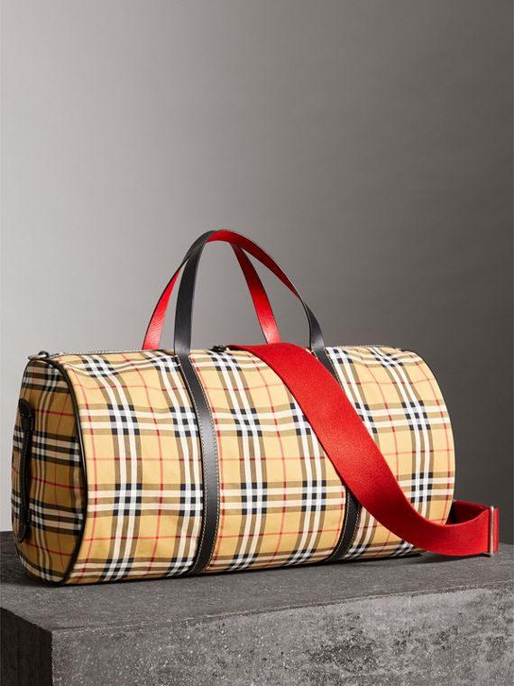 Large Vintage Check and Leather Barrel Bag in Military Red