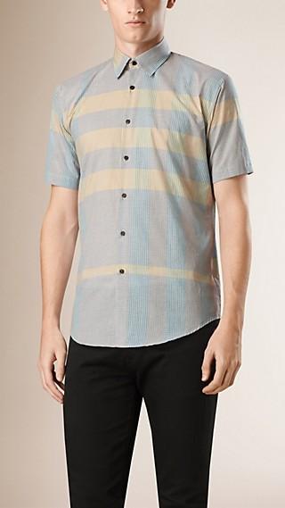 Camisa de manga corta en algodón con estampado de checks