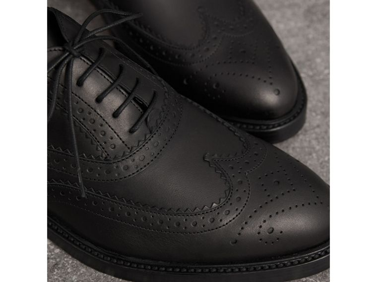 Leather Wingtip Brogues in Black - Women | Burberry Canada - cell image 1