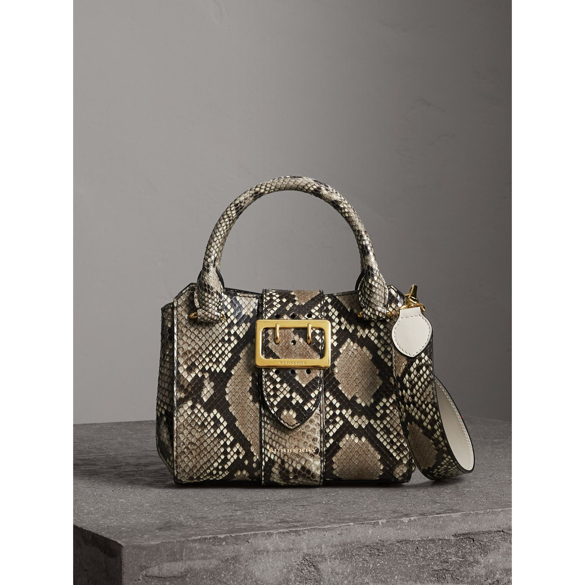 The Small Buckle Tote in Python in Natural - Women | Burberry - gallery image 0