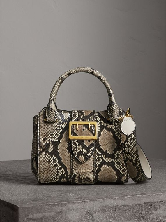 The Small Buckle Tote in Python in Natural