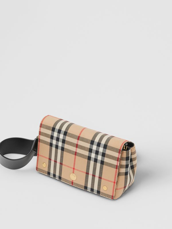 Small Vintage Check and Leather Crossbody Bag in Archive Beige/black | Burberry United Kingdom - cell image 3