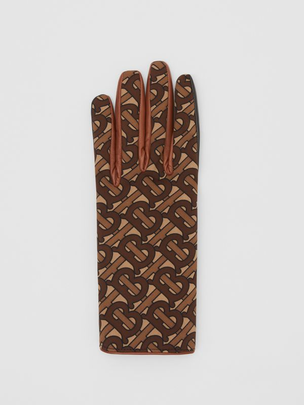 Cashmere-lined Monogram Print Lambskin Gloves in Bridle Brown | Burberry - cell image 2