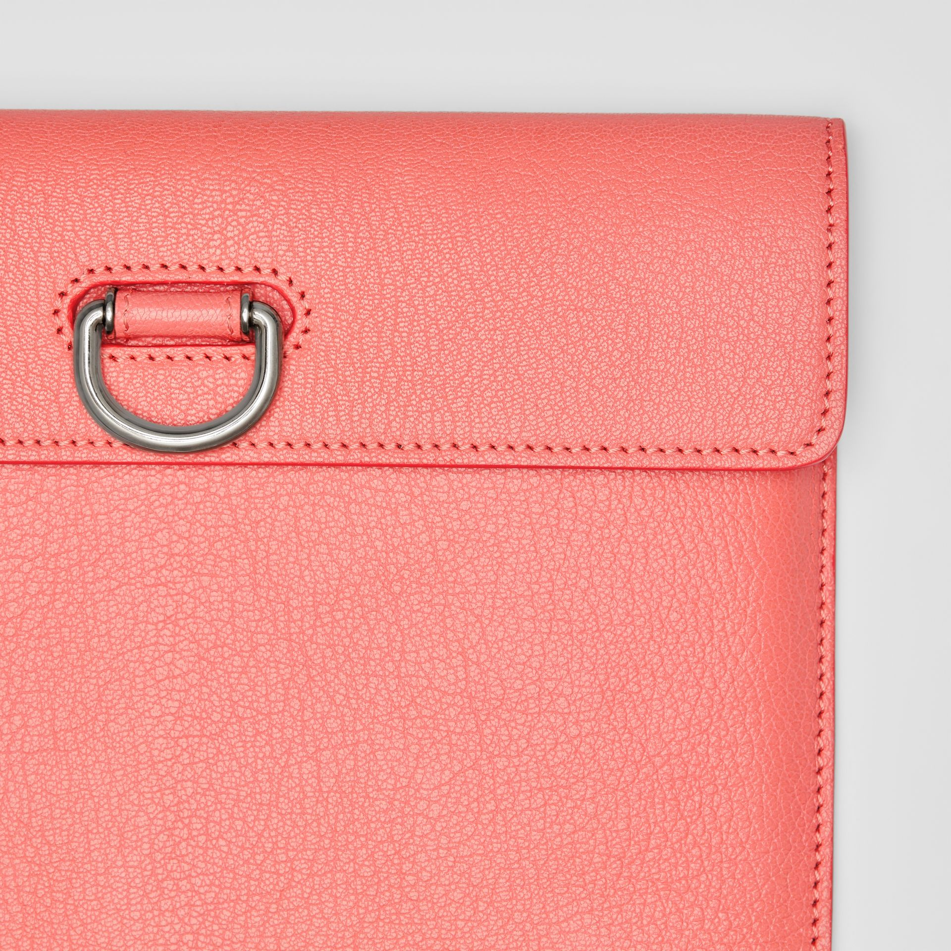 D-ring Leather Pouch with Zip Coin Case in Bright Coral Pink - Women | Burberry - gallery image 1