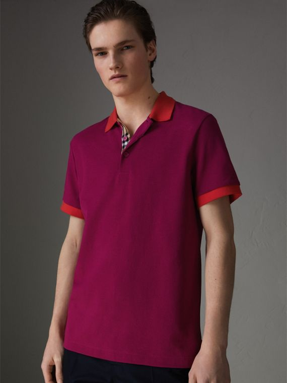 Contrast Collar Cotton Polo Shirt in Plum Pink