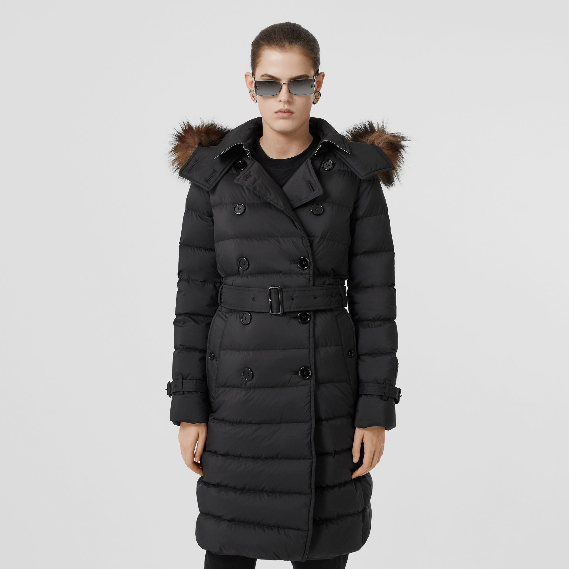 Detachable Hood Down-filled Coat in Black - Women | Burberry - gallery image 6