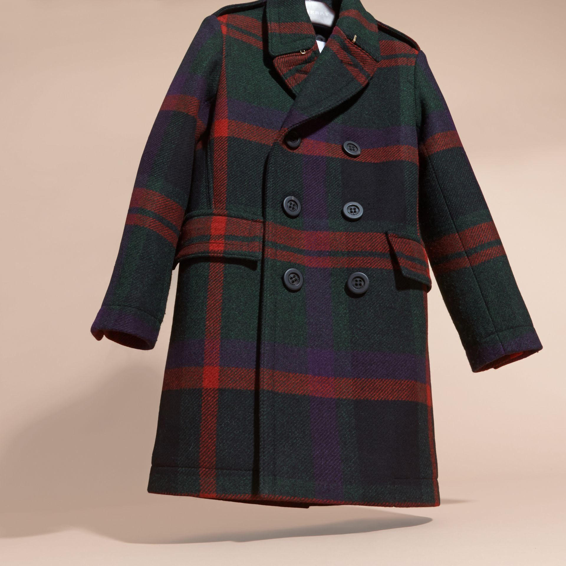 Dark teal Check Wool Topcoat - gallery image 3