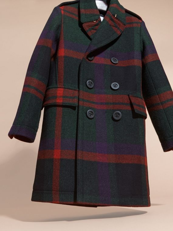 Dark teal Check Wool Topcoat - cell image 2