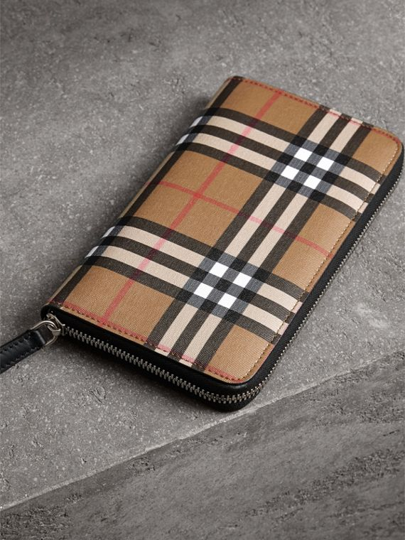 Vintage Check and Leather Ziparound Wallet in Antique Yellow/black - Men | Burberry United Kingdom - cell image 2