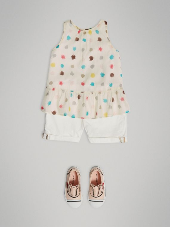 Top in cotone con stampa a pois e arricciature (Bianco Naturale) - Bambina | Burberry - cell image 2