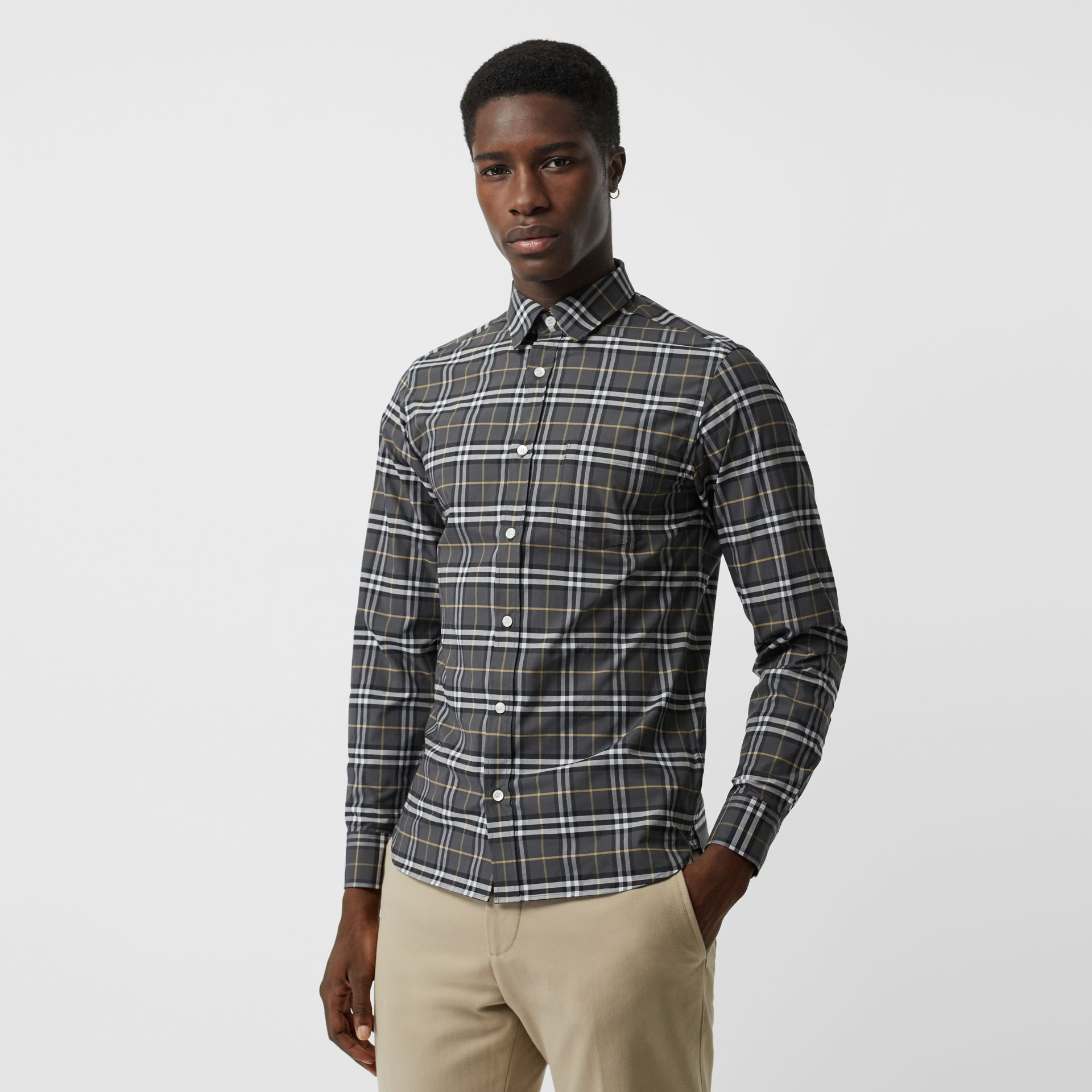 Check Stretch Cotton Shirt in Dark Grey - Men | Burberry Australia - gallery image 0