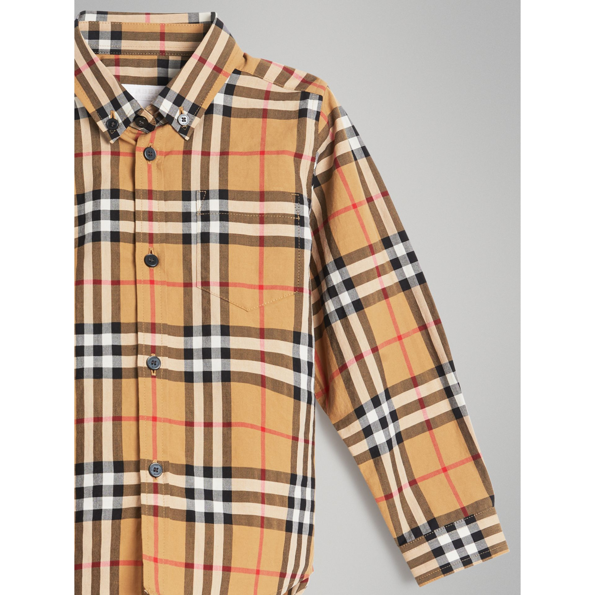 Button-down Collar Vintage Check Shirt in Antique Yellow - Boy | Burberry United Kingdom - gallery image 4
