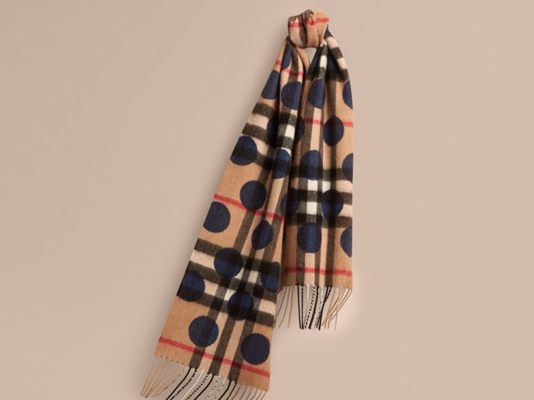 Indigo blue The Mini Classic Cashmere Scarf in Check and Dots - cell image 4