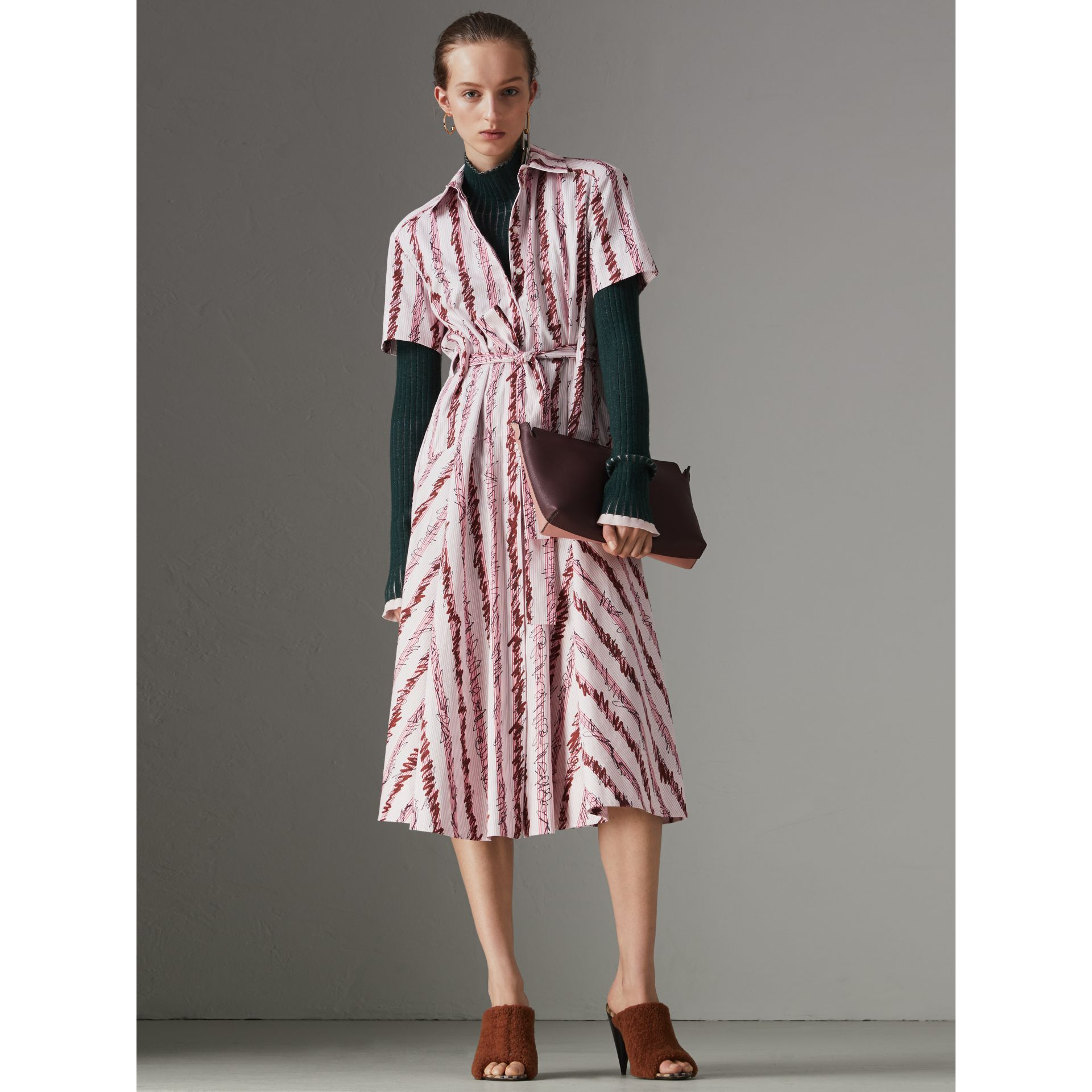 Scribble Stripe Cotton Shirt Dress in Light Pink - Women | Burberry - gallery image 5