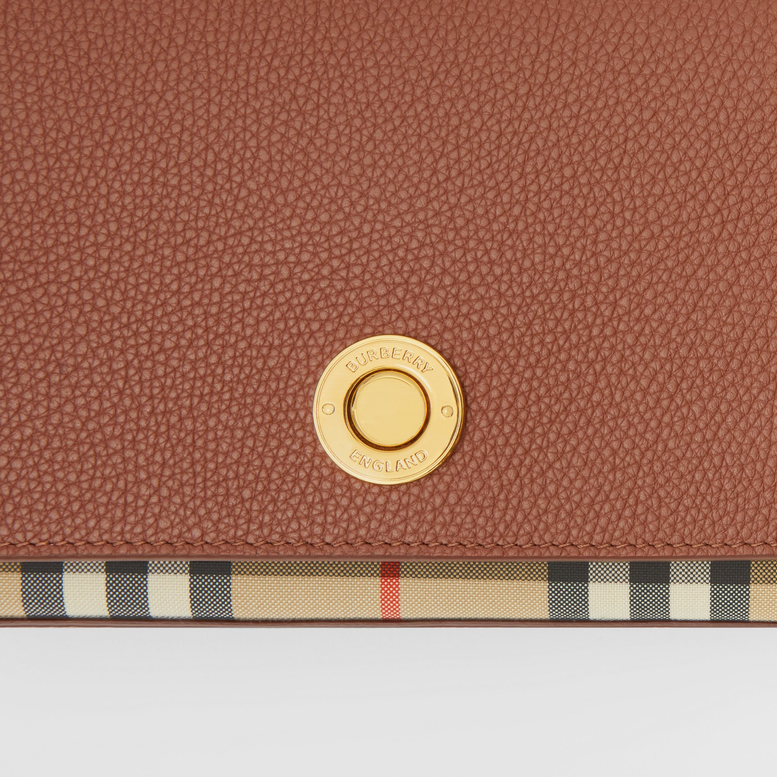 Small Leather and Vintage Check Crossbody Bag in Tan - Women | Burberry Australia - 2