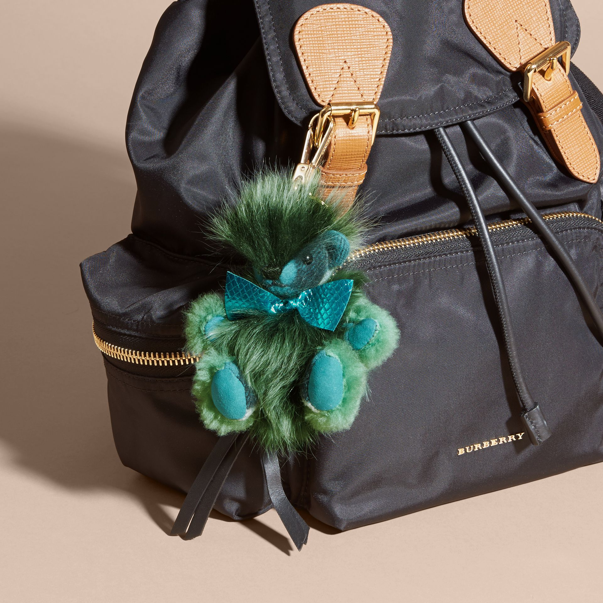 Dark aqua Thomas Bear Pom-Pom Charm in Check Cashmere Dark Aqua - gallery image 2
