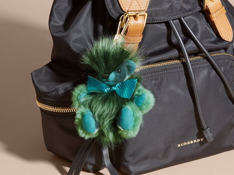 Thomas Bear Pom-Pom Charm in Check Cashmere in Dark Aqua - Women | Burberry Hong Kong - cell image 1
