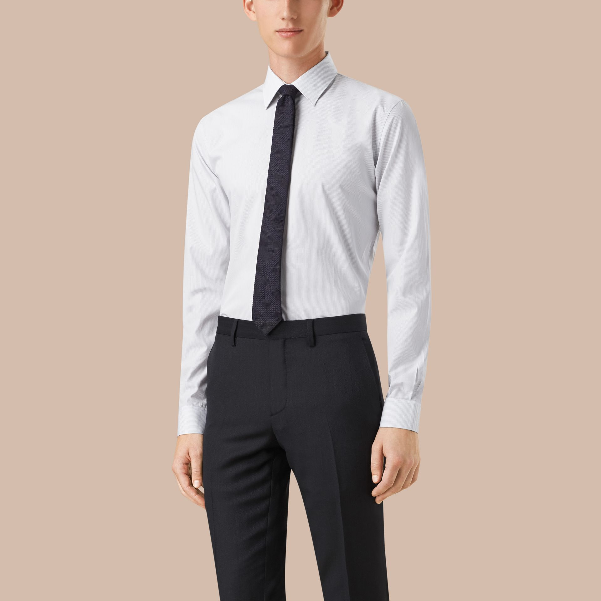 Slim Fit Striped Cotton Poplin Shirt in City Grey - Men | Burberry - gallery image 3