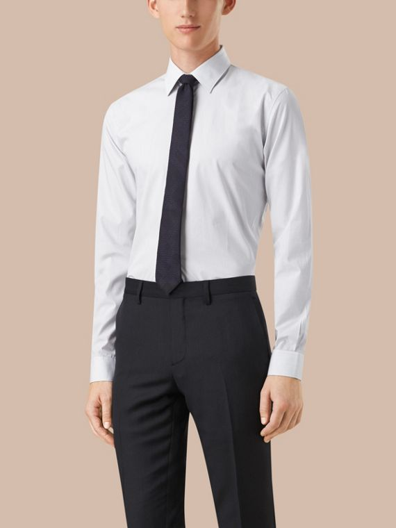 Slim Fit Striped Cotton Poplin Shirt in City Grey - Men | Burberry - cell image 2