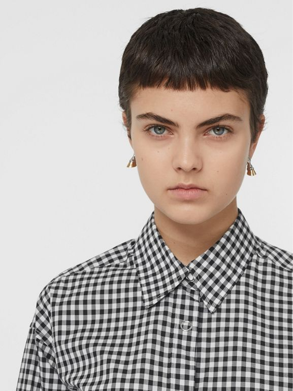 Puff-sleeve Gingham Cotton Oversized Shirt in Black/white - Women | Burberry Australia - cell image 1