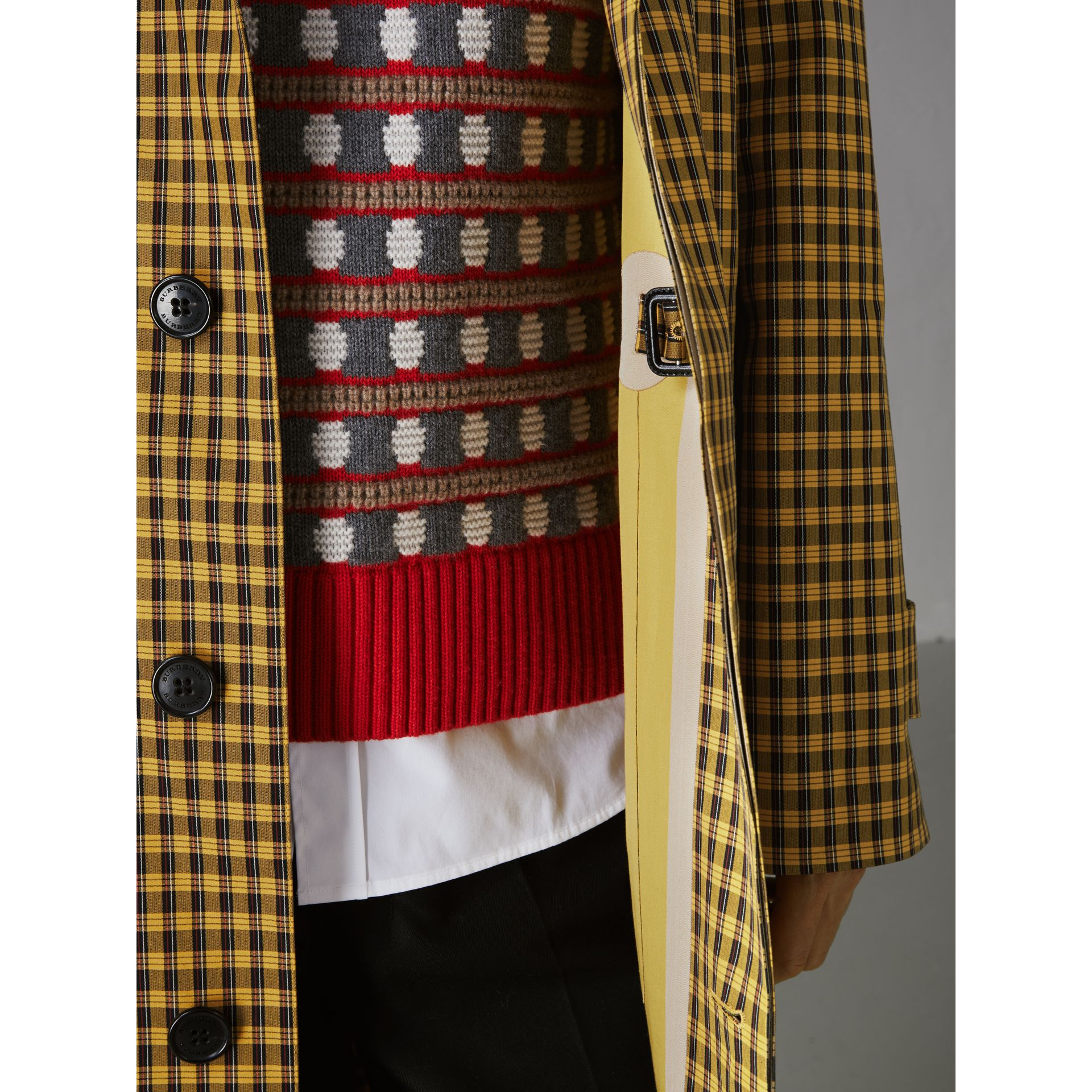 Shrunken Check Bonded Cotton Car Coat in Saffron Yellow - Men | Burberry Hong Kong - gallery image 1