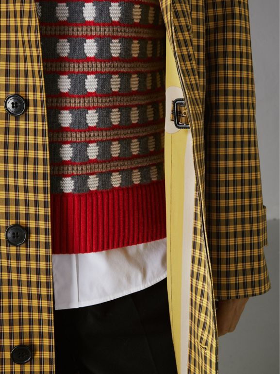 Shrunken Check Bonded Cotton Car Coat in Saffron Yellow - Men | Burberry Hong Kong - cell image 1