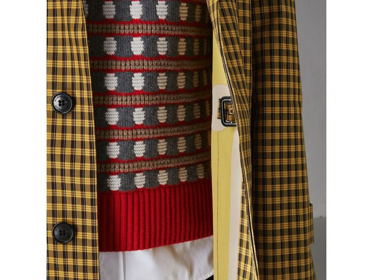 Shrunken Check Bonded Cotton Car Coat in Saffron Yellow - Men | Burberry United Kingdom - cell image 1