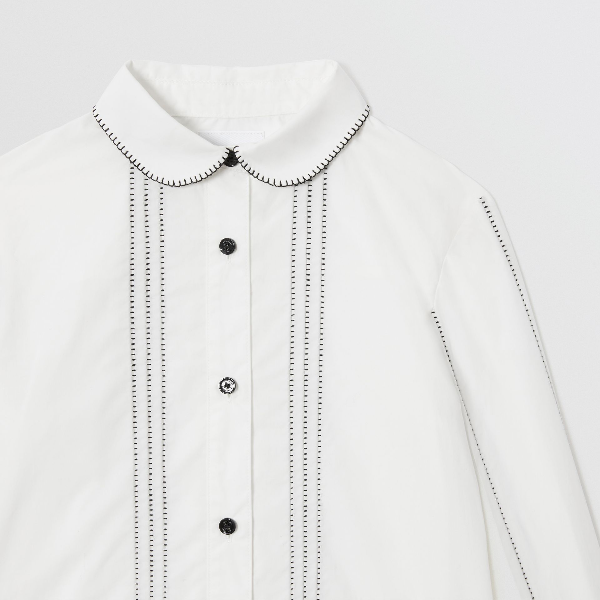 Peter Pan Collar Stretch Cotton Poplin Shirt in White | Burberry - gallery image 4