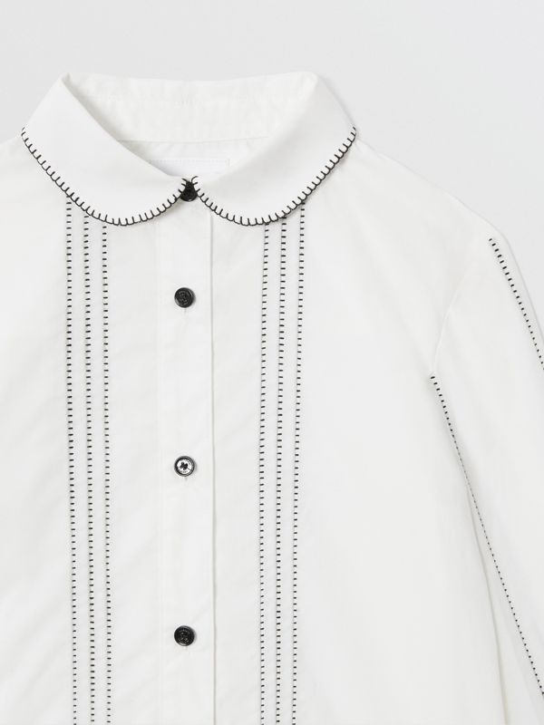 Camicia in popeline di cotone stretch con colletto Peter Pan (Bianco) | Burberry - cell image 3