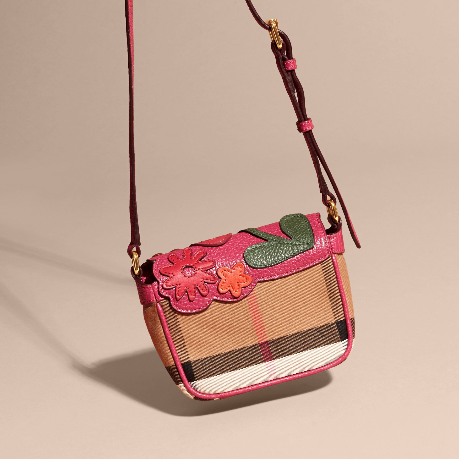 Multicolour Canvas Check and Floral Leather Crossbody Bag - gallery image 4