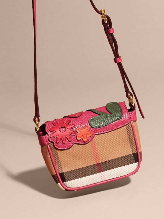 Multicolour Canvas Check and Floral Leather Crossbody Bag - cell image 3
