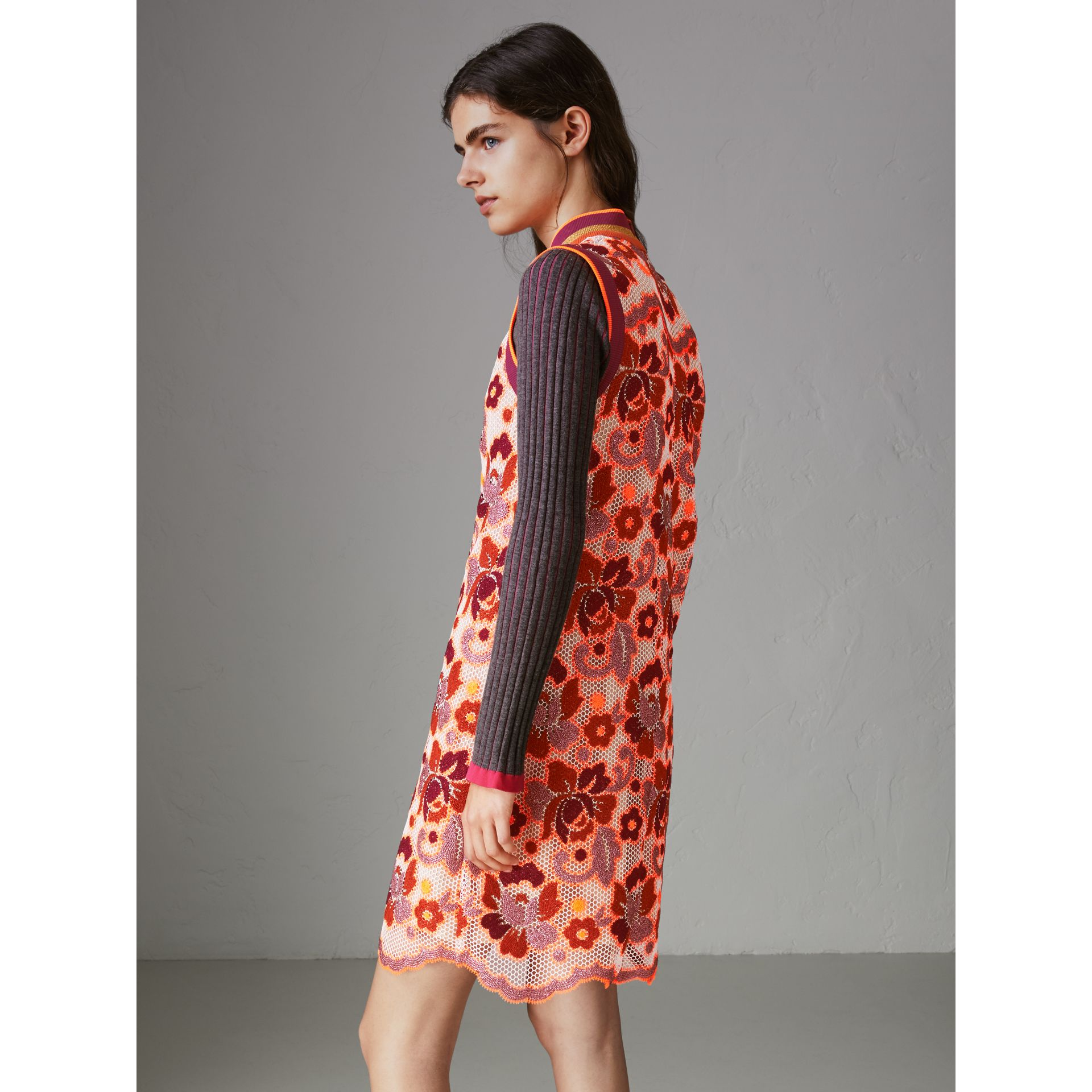 Floral Crochet Shift Dress in Bright Orange - Women | Burberry United States - gallery image 2