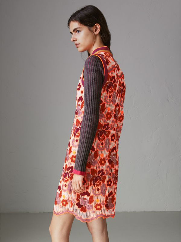 Floral Crochet Shift Dress in Bright Orange - Women | Burberry - cell image 2