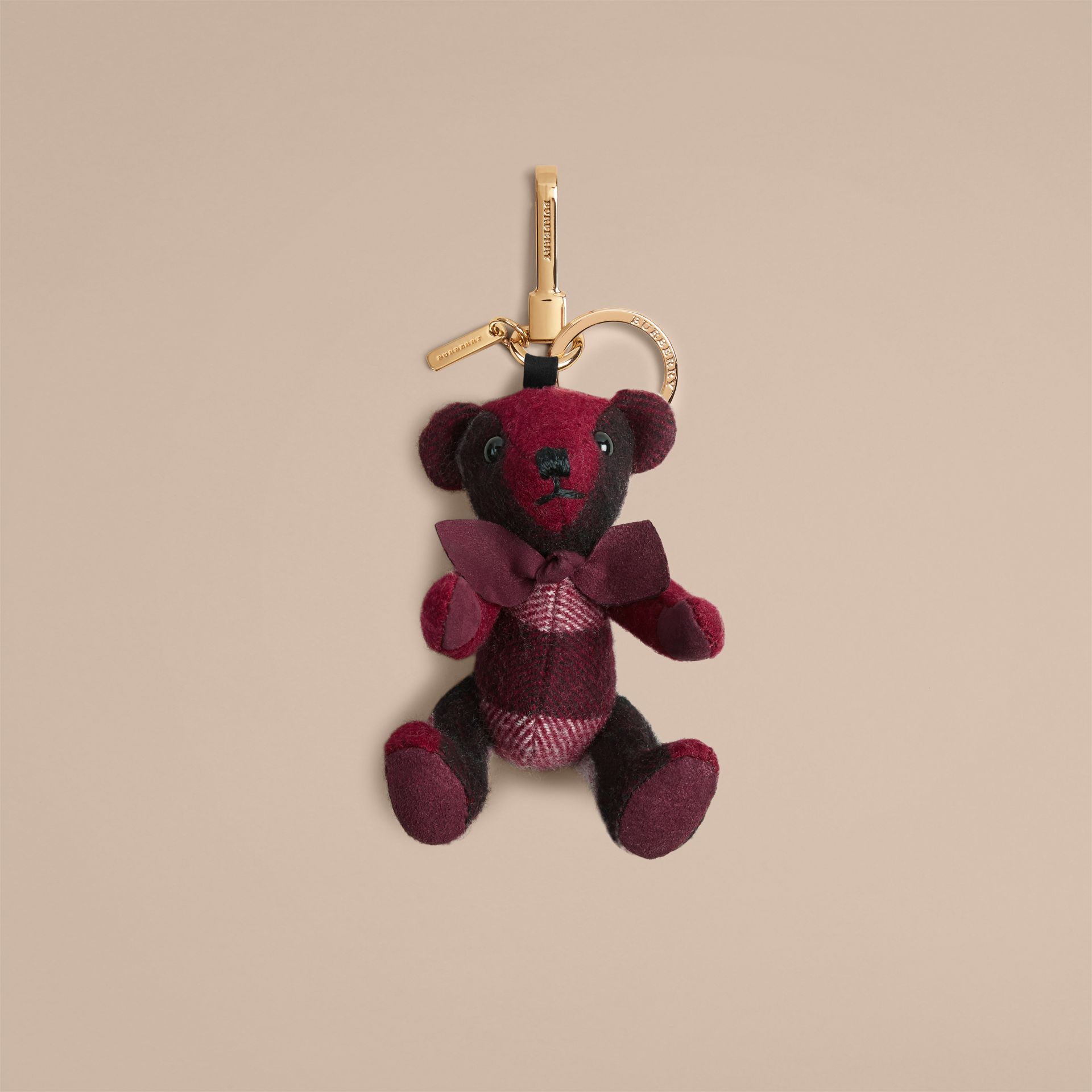 Thomas Bear Charm in Check Cashmere in Plum | Burberry Canada - gallery image 1