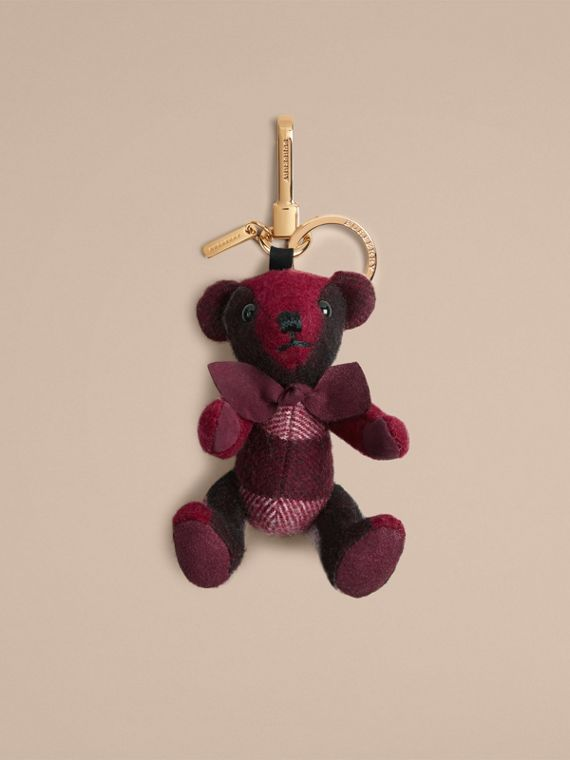 Thomas Bear Charm in Check Cashmere in Plum | Burberry