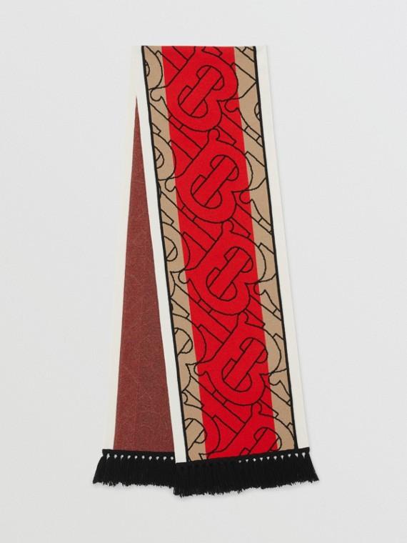 Cachecol de cashmere listrado com monograma em jacquard (Bege Clássico)