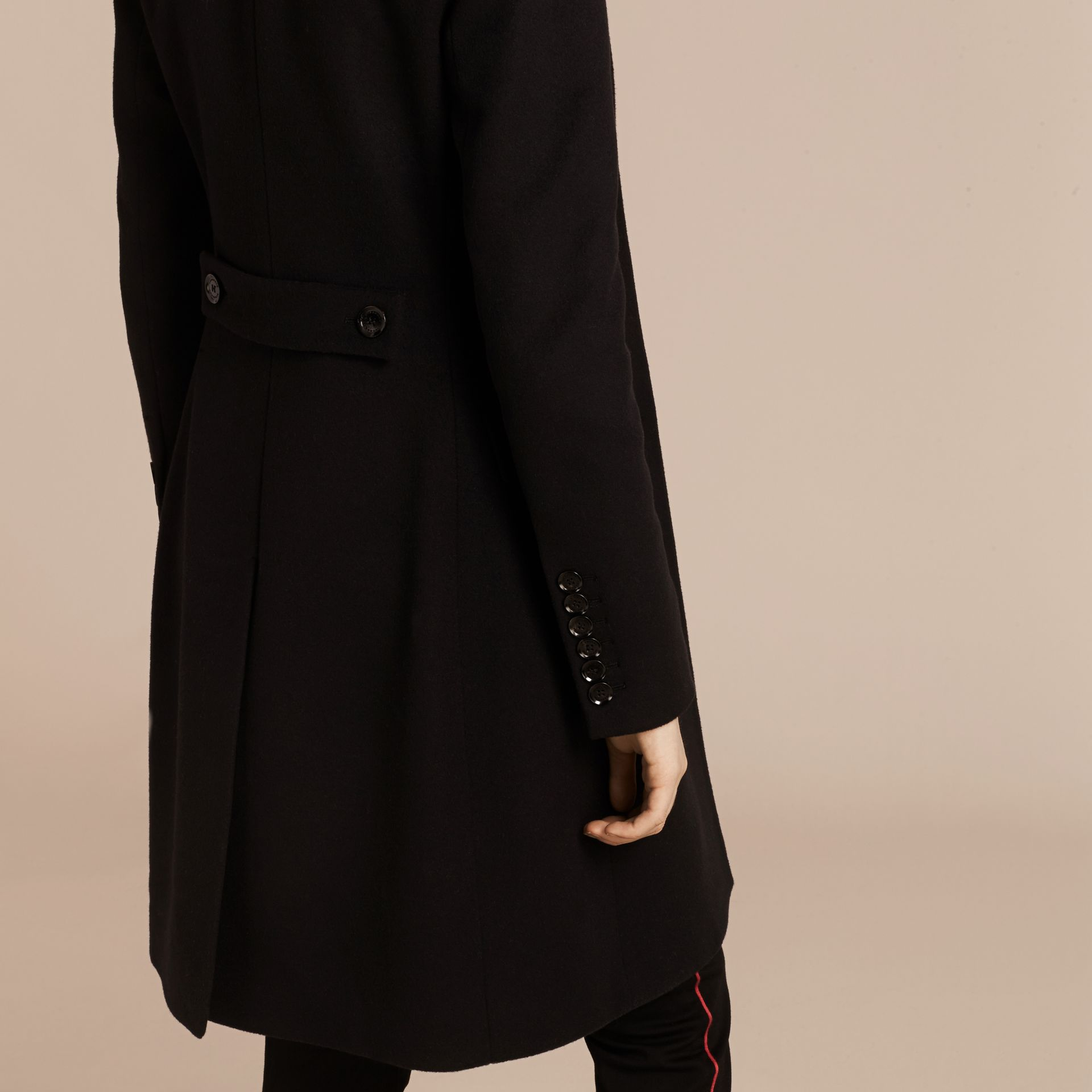 Wool Cashmere Tailored Coat in Black - gallery image 2