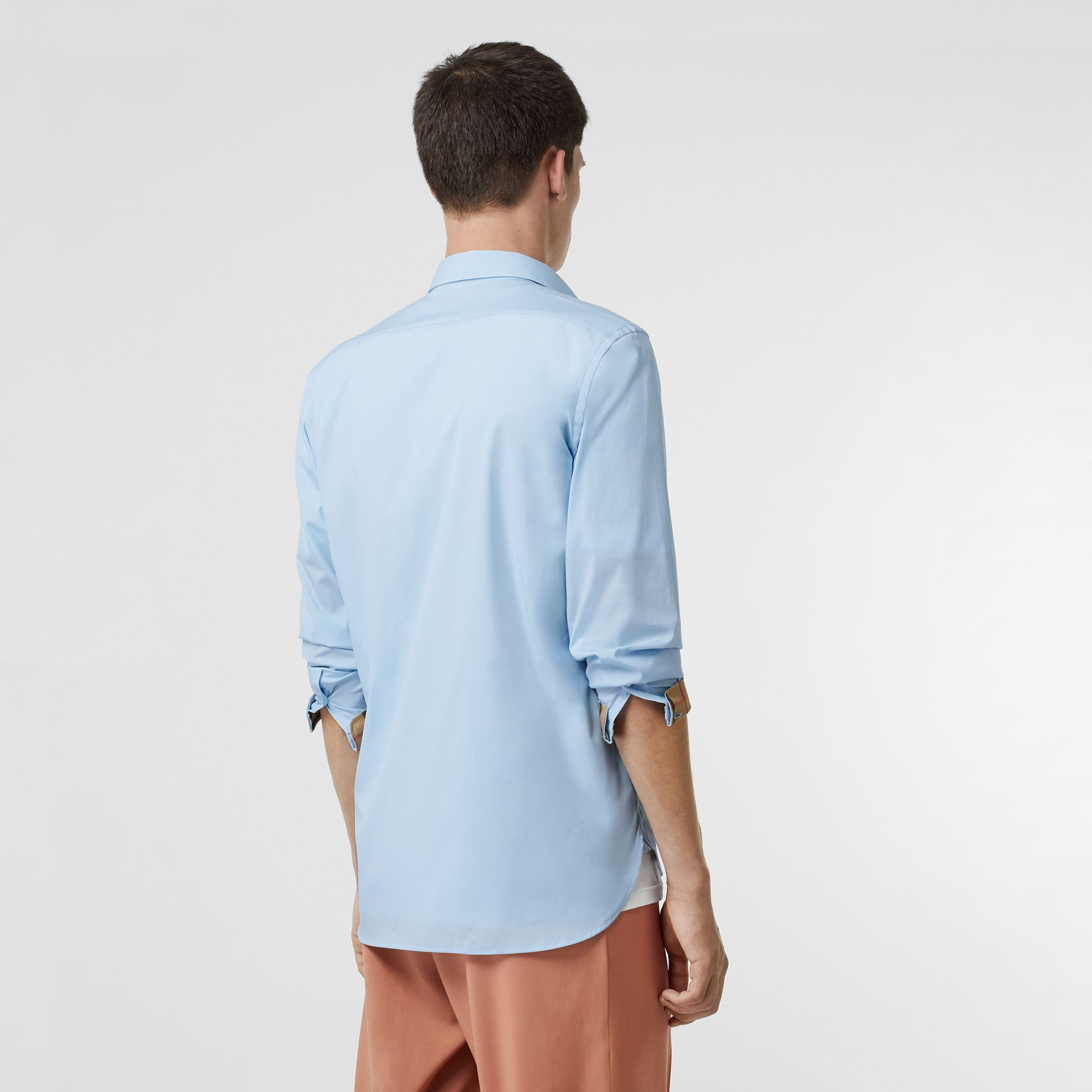 Stretch Cotton Poplin Shirt in Pale Blue - Men | Burberry - gallery image 2