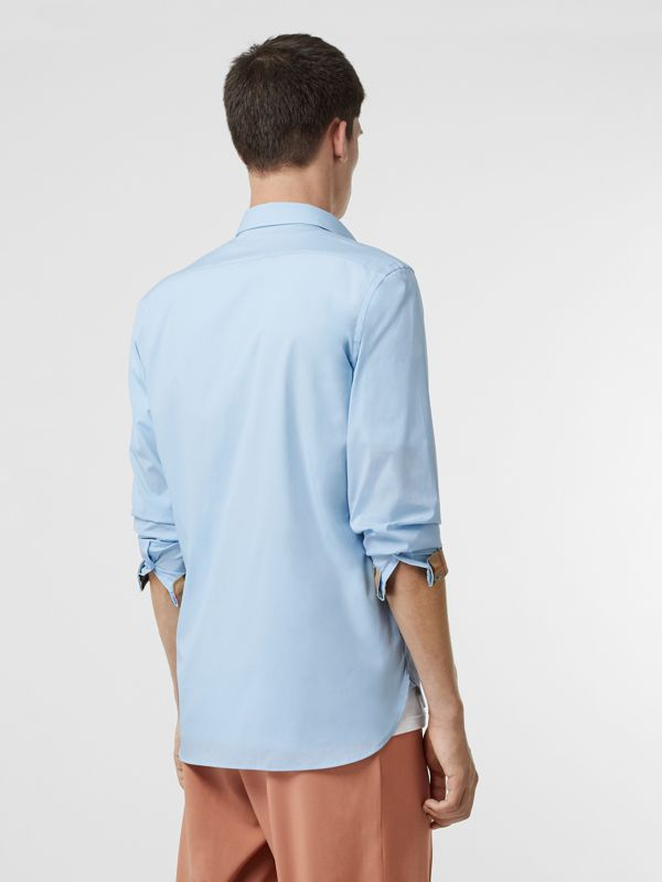 Stretch Cotton Poplin Shirt in Pale Blue - Men | Burberry - cell image 2