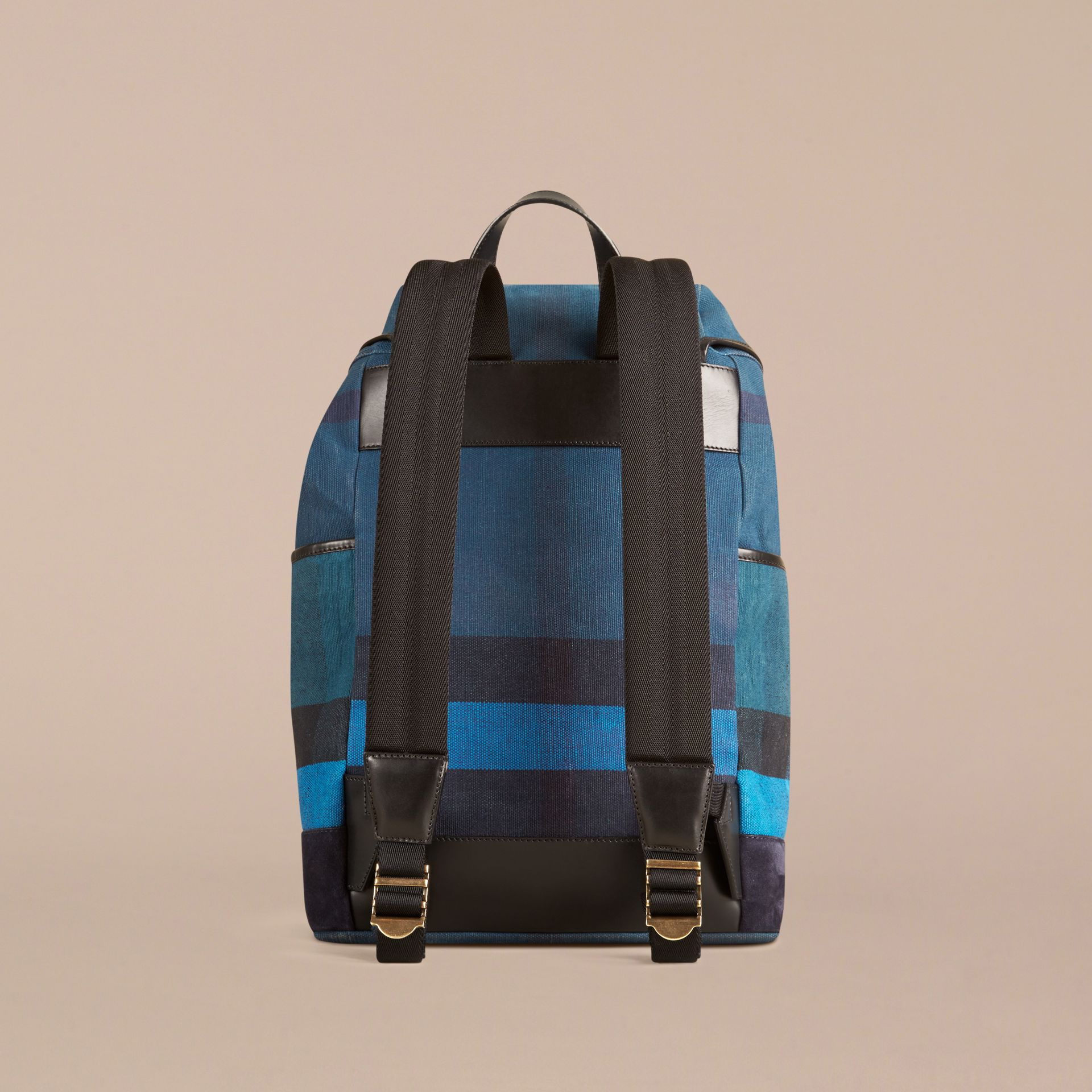 Ultramarine blue Colour Block Canvas Check Backpack - gallery image 2