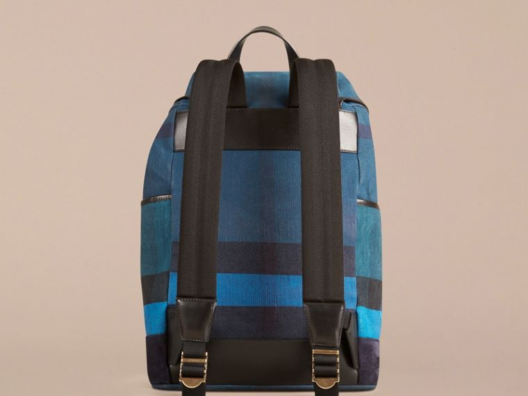 Ultramarine blue Colour Block Canvas Check Backpack - cell image 1