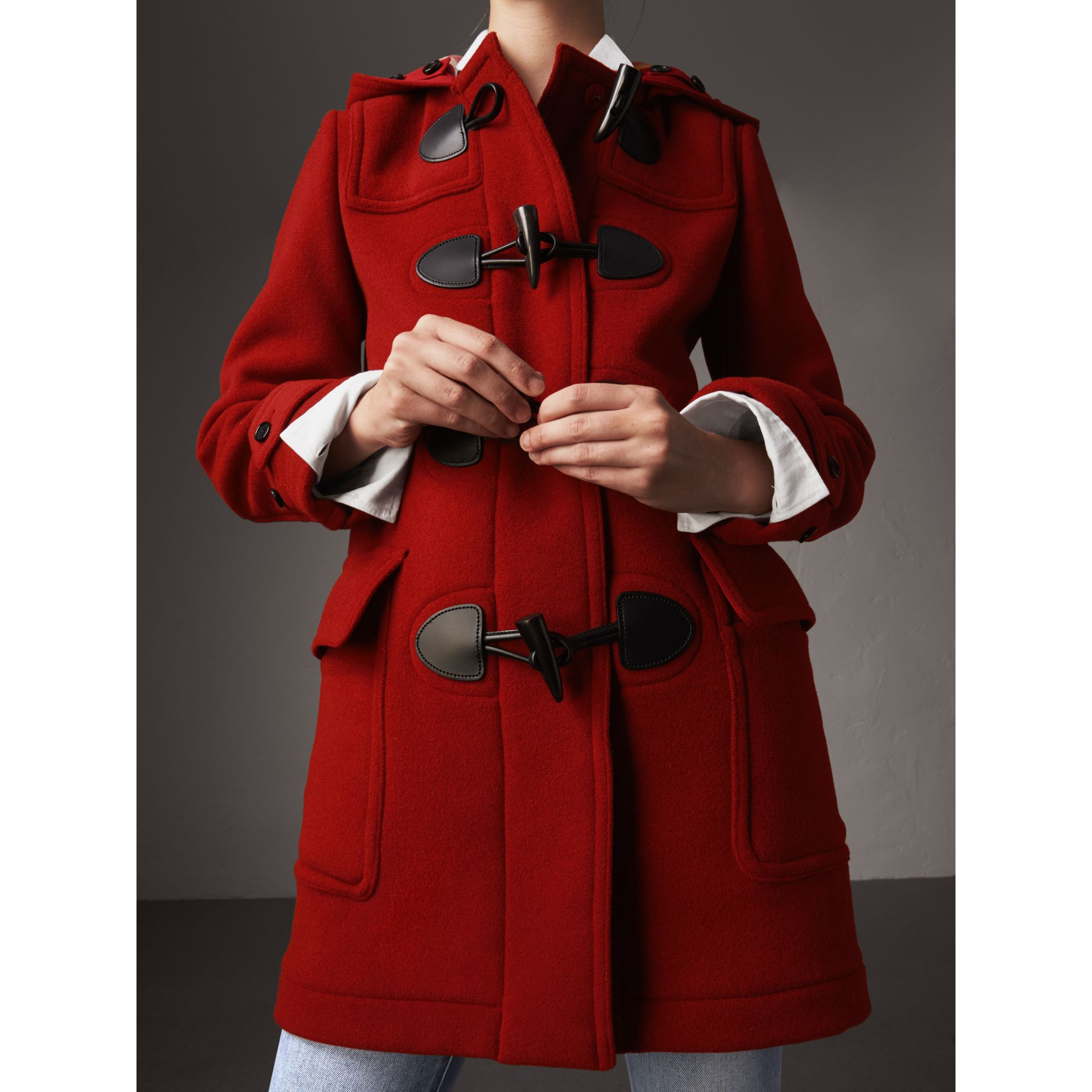 The Mersey Duffle Coat in Parade Red - Women | Burberry United Kingdom - gallery image 5