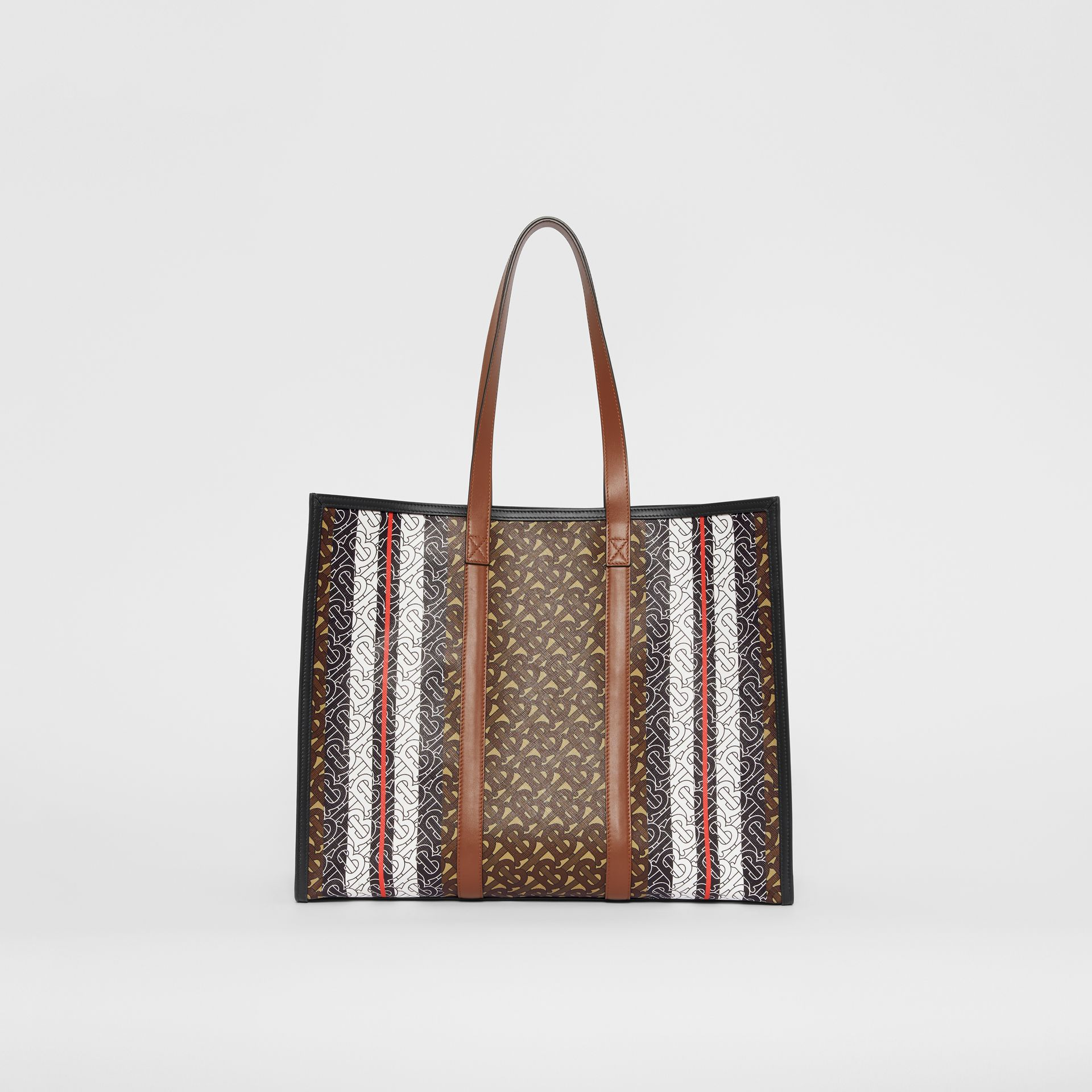 Monogram Stripe E-canvas Tote Bag in Bridle Brown - Women | Burberry - gallery image 9