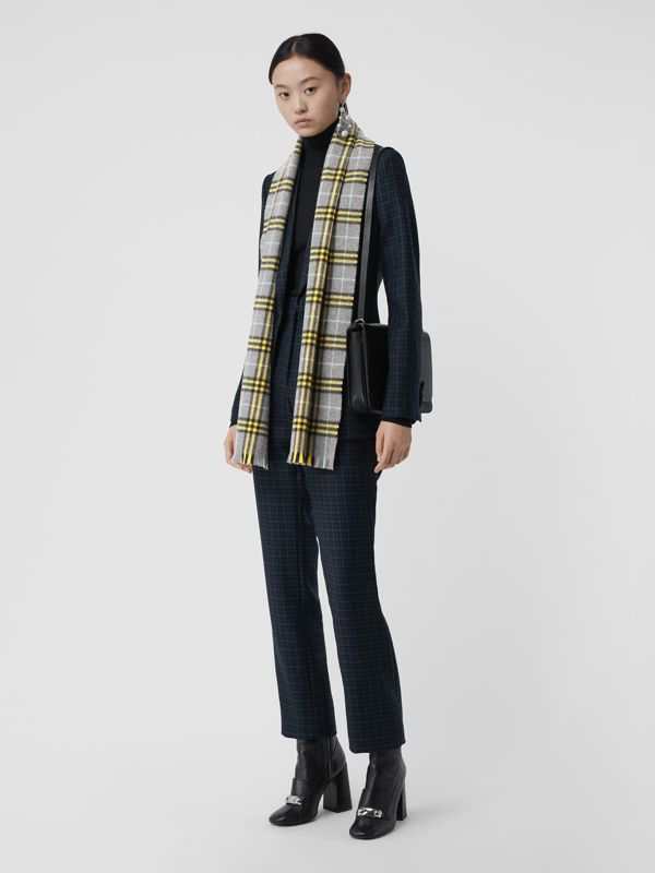 Check Cashmere Scarf in Storm Grey | Burberry United States - cell image 2