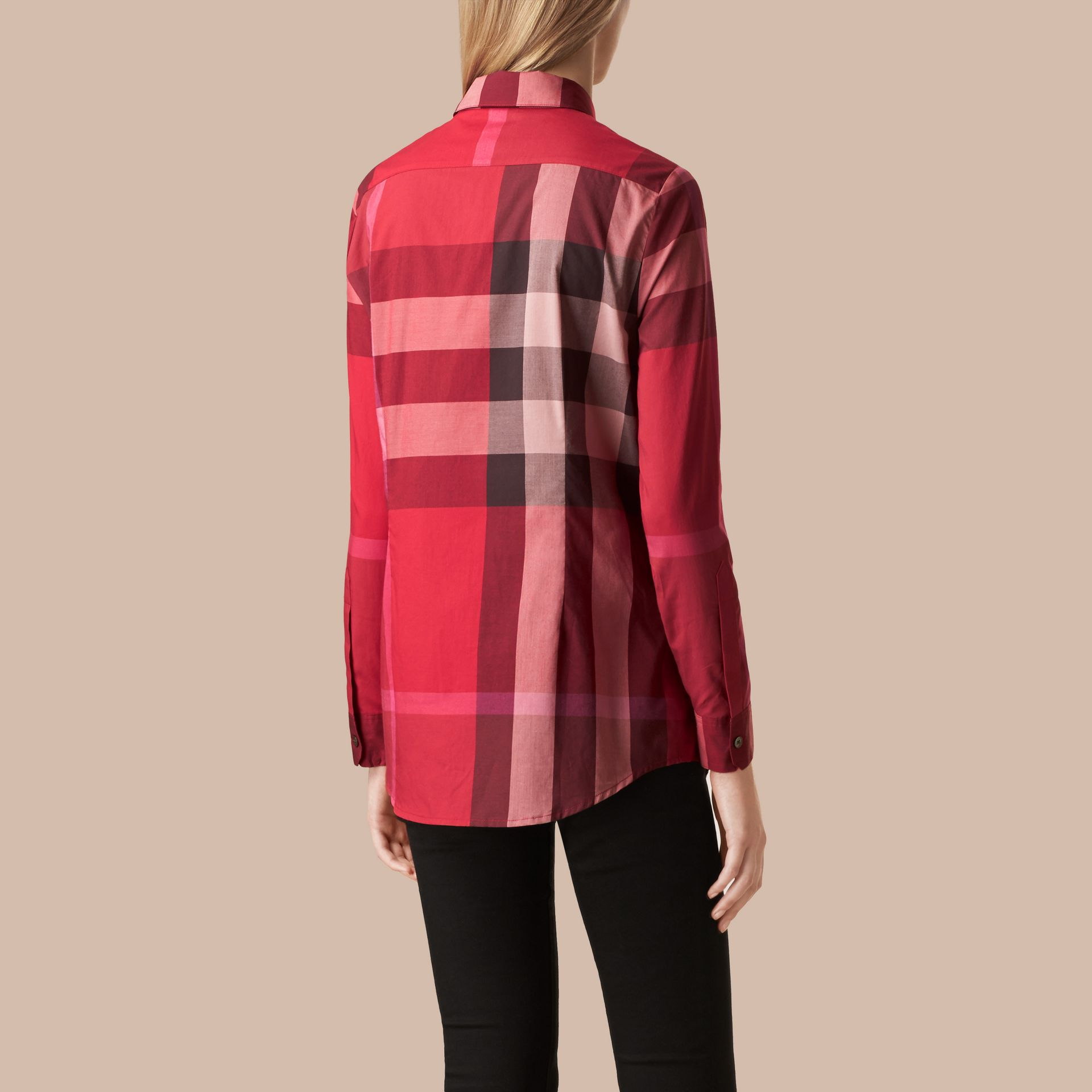 Berry red Check Cotton Shirt Berry Red - gallery image 3